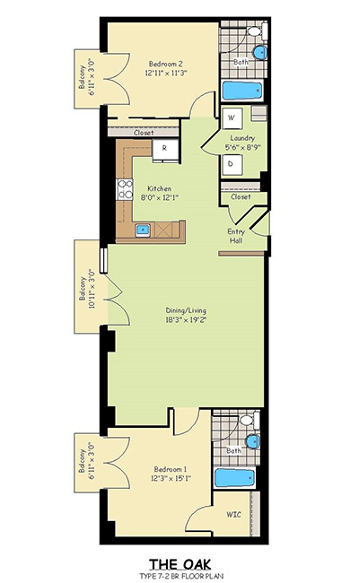 Two Bedroom Apartments - The Oak